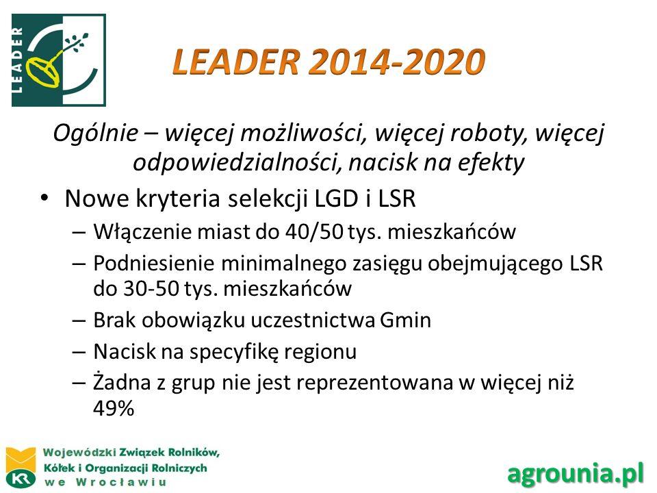 LEADER 2014-2020 Ogólnie – więcej możliwości, więcej roboty, więcej odpowiedzialności, nacisk na efekty.