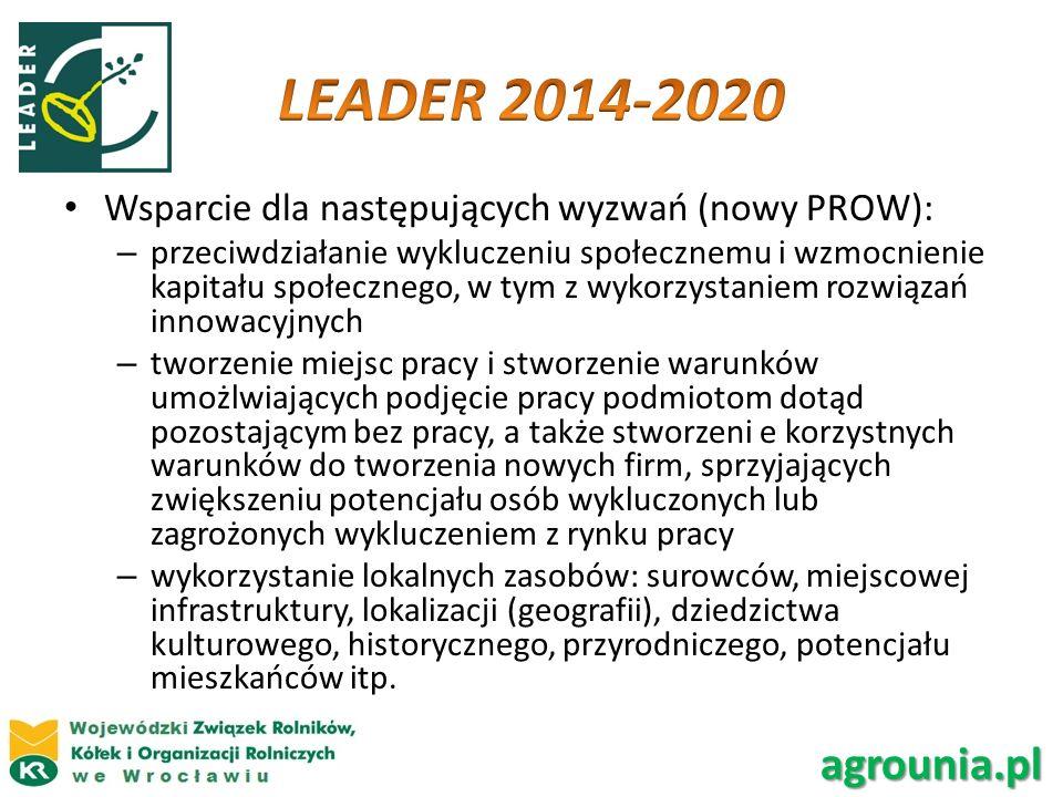 LEADER 2014-2020 Wsparcie dla następujących wyzwań (nowy PROW):