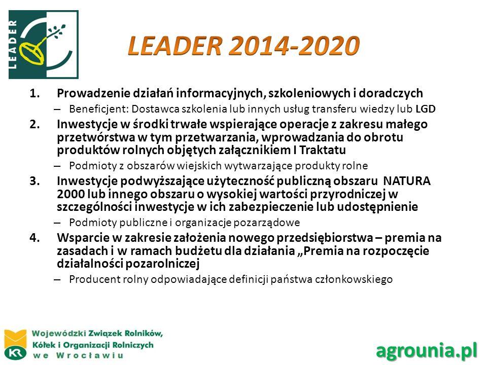 LEADER 2014-2020 Prowadzenie działań informacyjnych, szkoleniowych i doradczych.