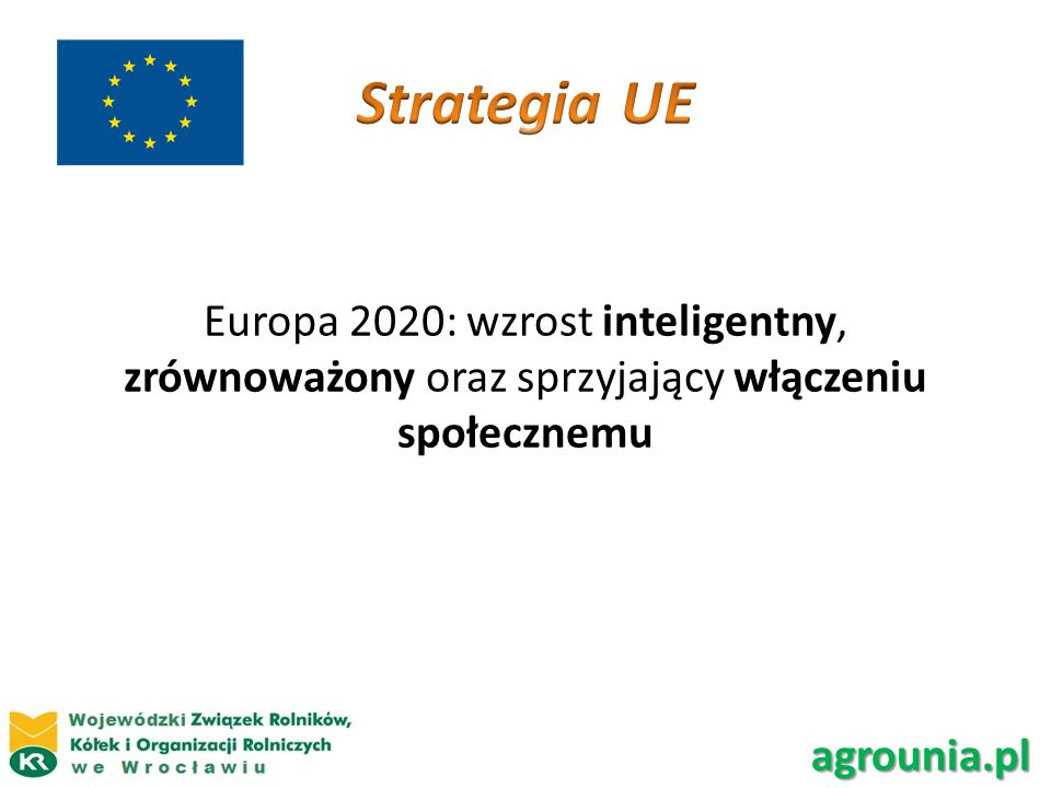 Strategia UE Europa 2020: wzrost inteligentny, zrównoważony oraz sprzyjający włączeniu społecznemu.