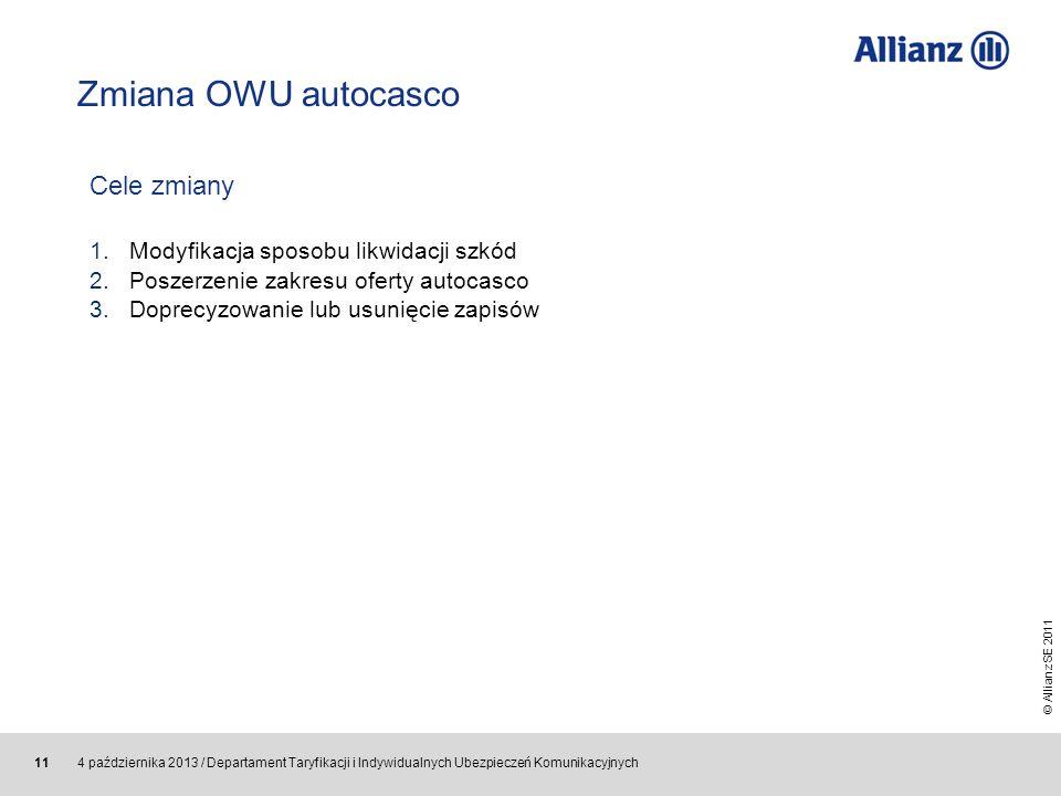 Zmiana OWU autocasco Cele zmiany Modyfikacja sposobu likwidacji szkód
