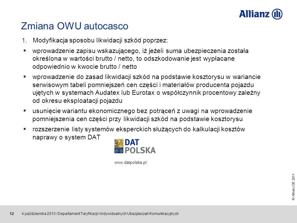 Zmiana OWU autocasco Modyfikacja sposobu likwidacji szkód poprzez: