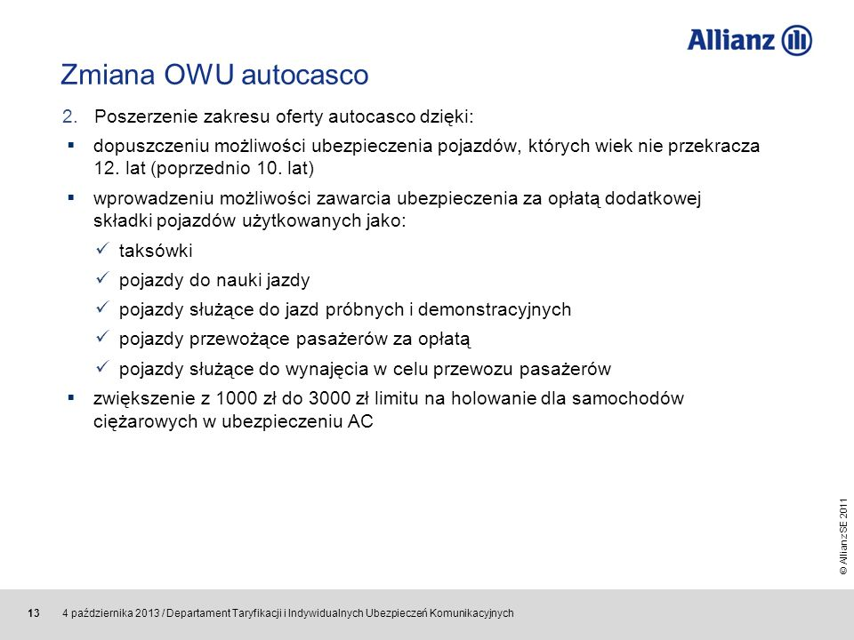 Zmiana OWU autocasco 2. Poszerzenie zakresu oferty autocasco dzięki: