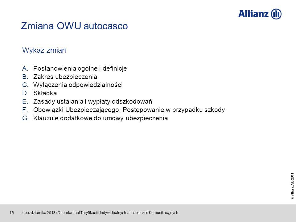 Zmiana OWU autocasco Wykaz zmian Postanowienia ogólne i definicje
