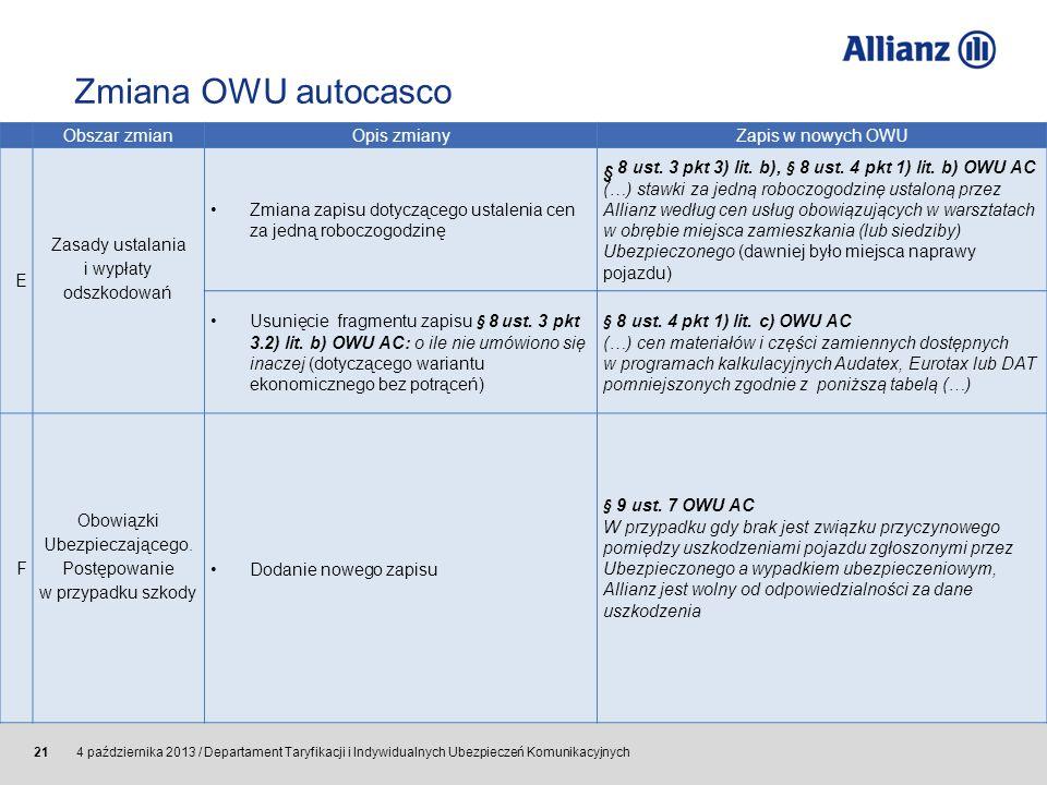 Zmiana OWU autocasco Obszar zmian. Opis zmiany. Zapis w nowych OWU. E. Zasady ustalania i wypłaty odszkodowań.