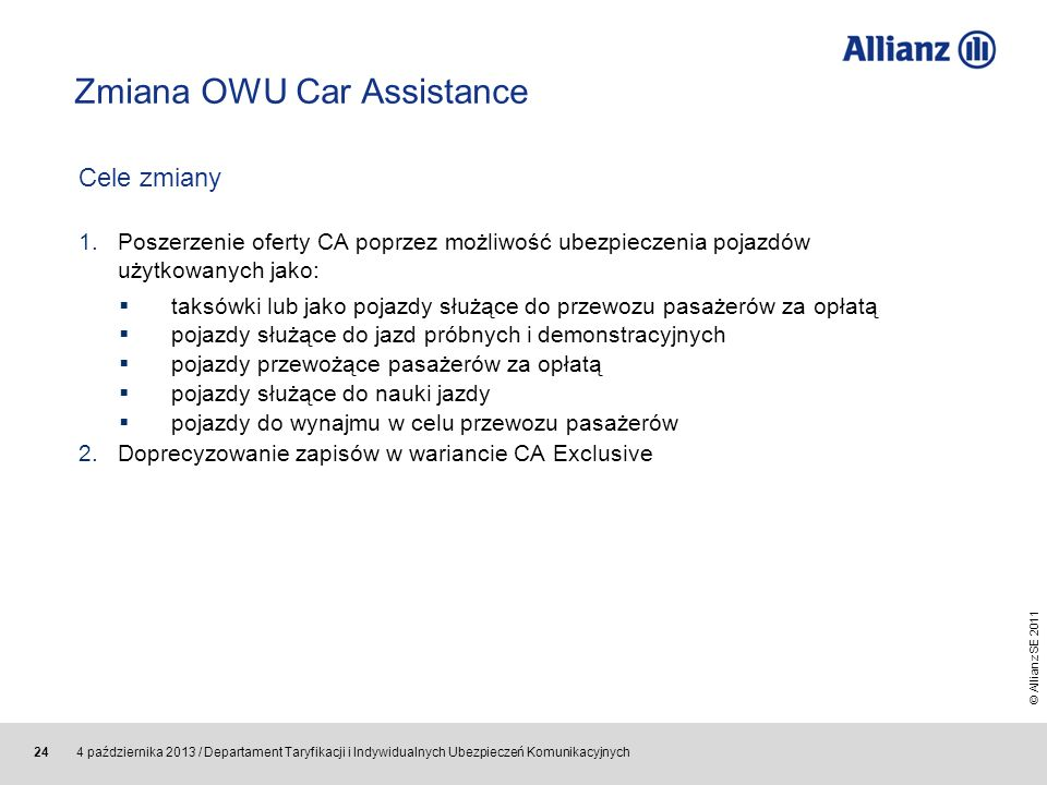 Zmiana OWU Car Assistance
