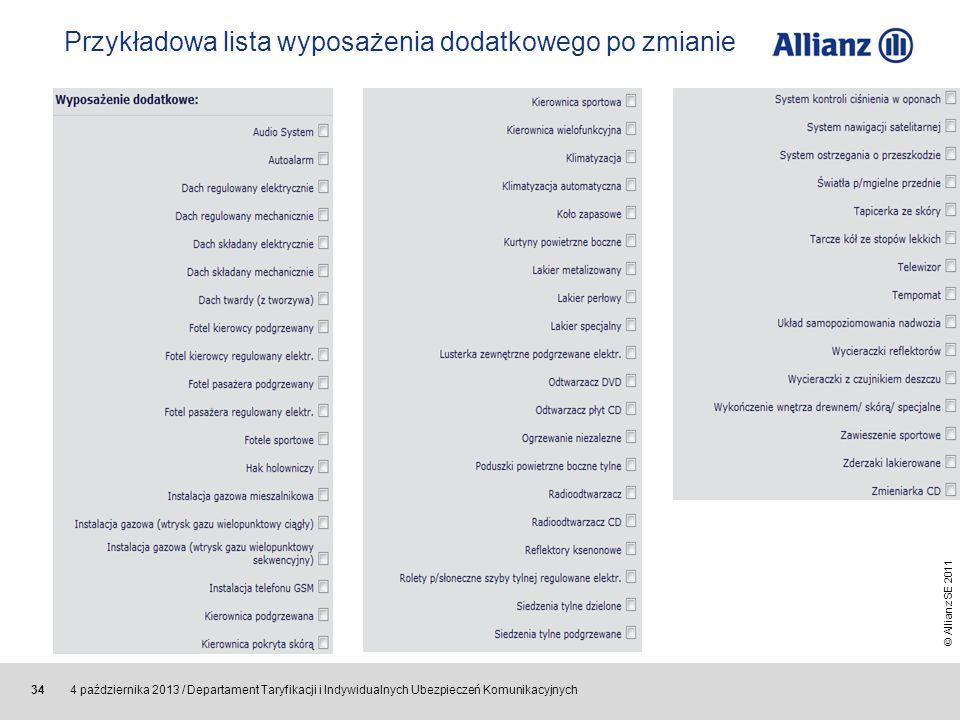Przykładowa lista wyposażenia dodatkowego po zmianie