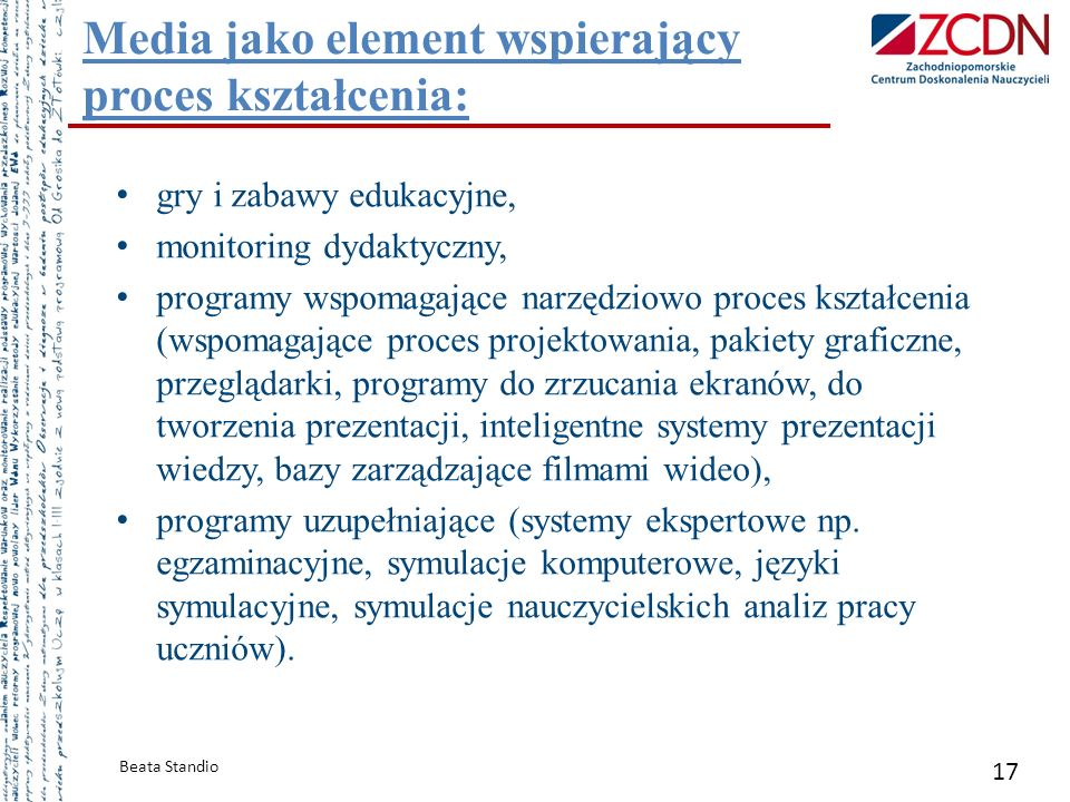 Media jako element wspierający proces kształcenia: