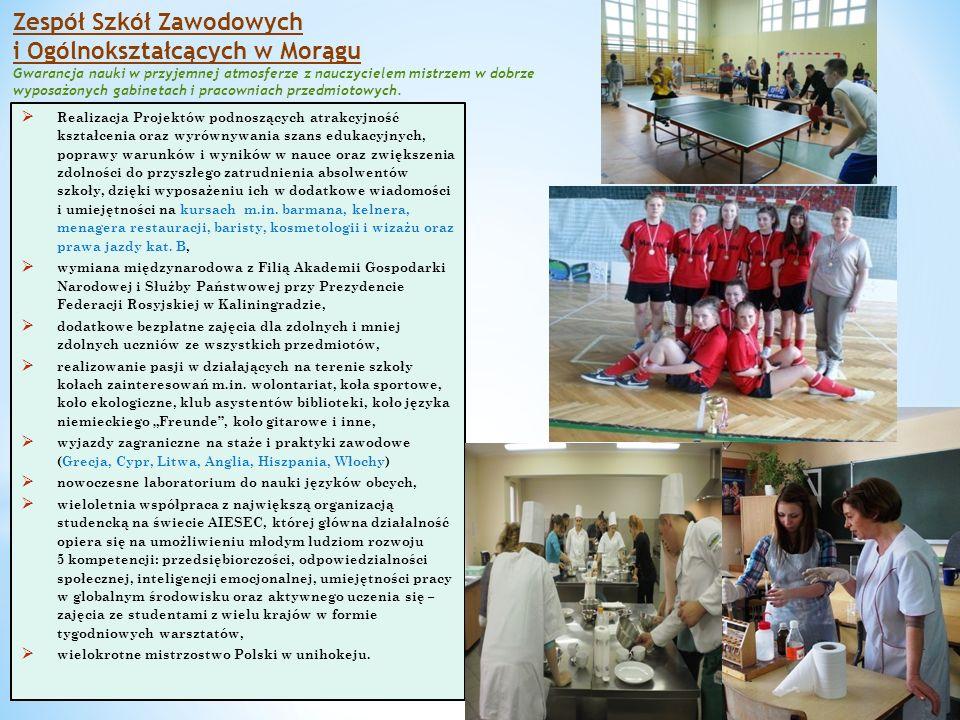 Zespół Szkół Zawodowych i Ogólnokształcących w Morągu Gwarancja nauki w przyjemnej atmosferze z nauczycielem mistrzem w dobrze wyposażonych gabinetach i pracowniach przedmiotowych.