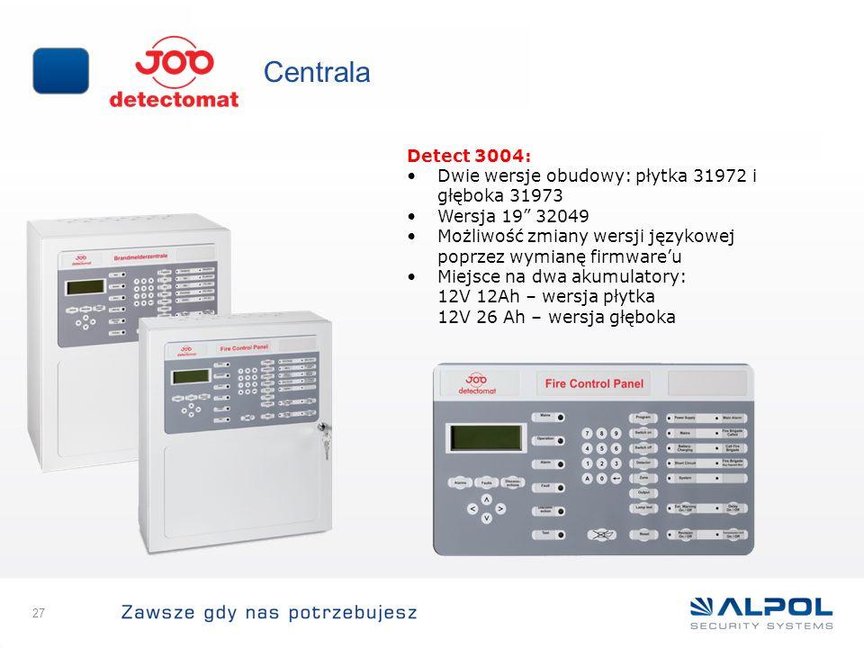 Centrala Detect 3004: Dwie wersje obudowy: płytka 31972 i głęboka 31973. Wersja 19 32049.