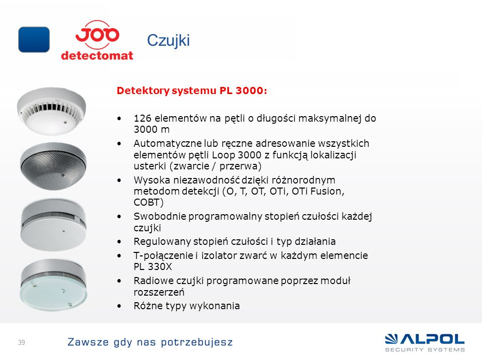 Czujki Detektory systemu PL 3000: