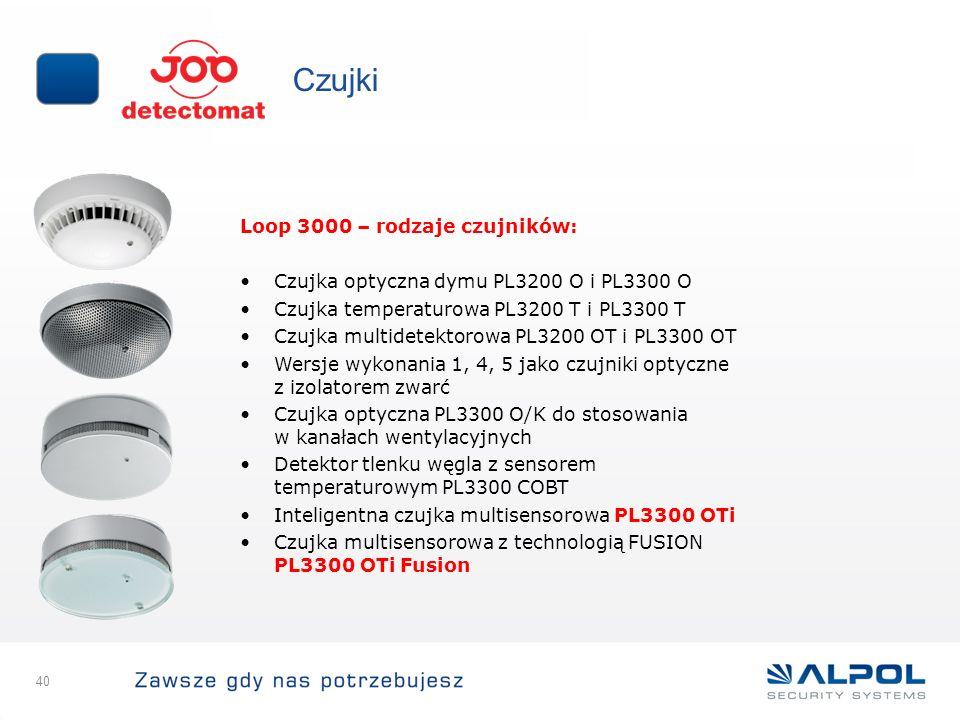 Czujki Loop 3000 – rodzaje czujników: