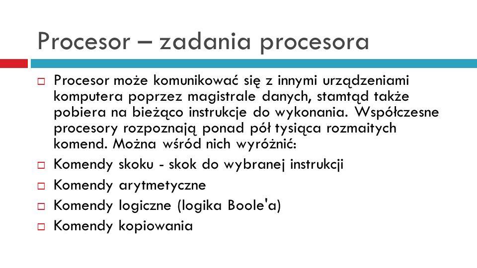 Procesor – zadania procesora