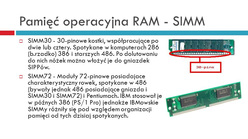 Pamięć operacyjna RAM - SIMM