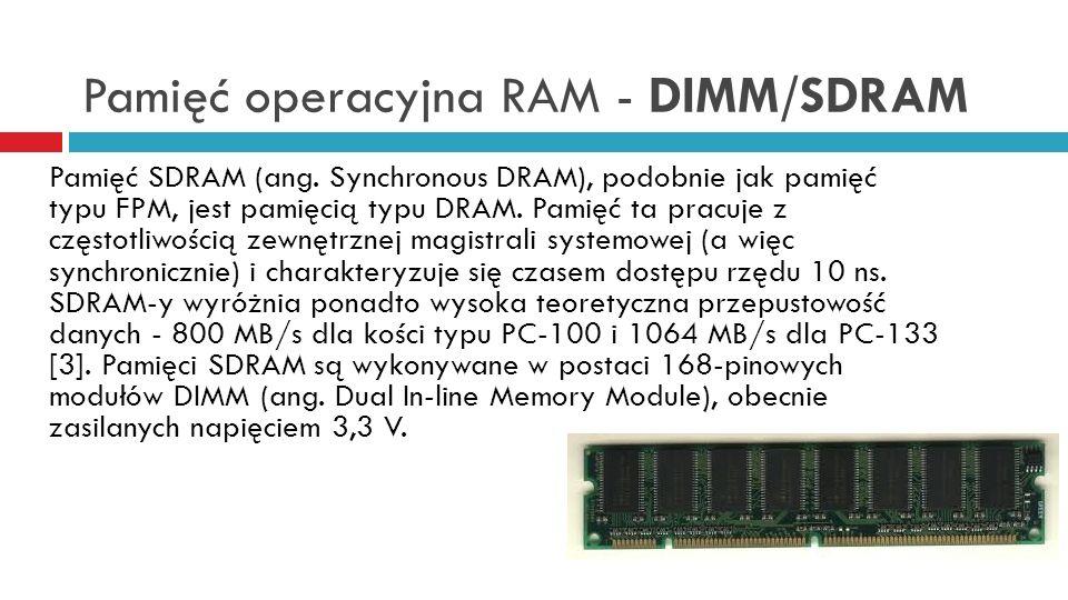 Pamięć operacyjna RAM - DIMM/SDRAM