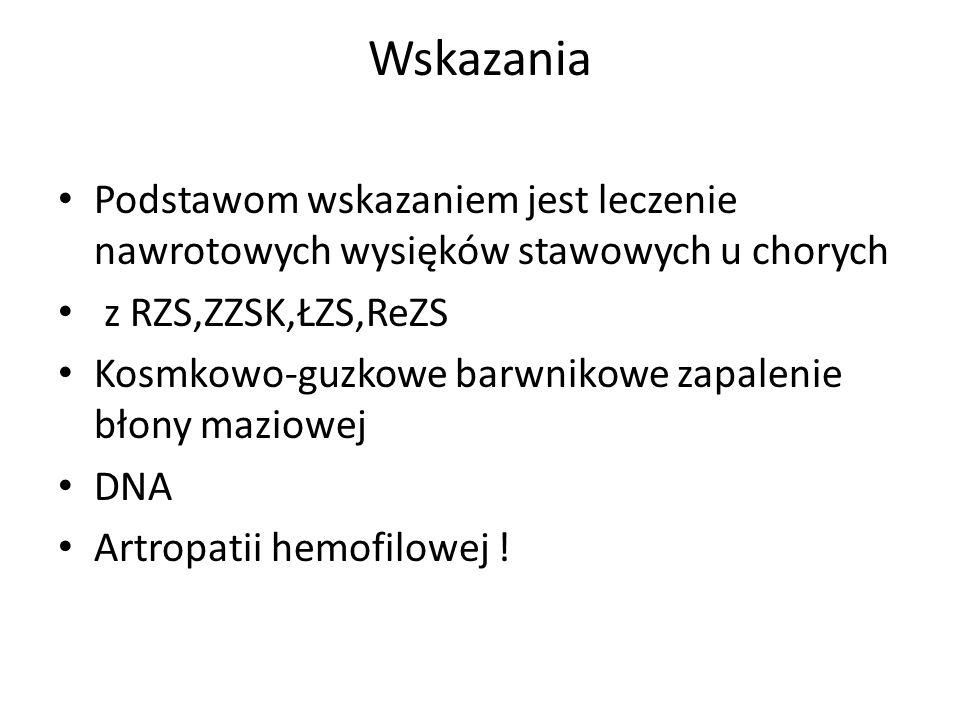 Wskazania Podstawom wskazaniem jest leczenie nawrotowych wysięków stawowych u chorych. z RZS,ZZSK,ŁZS,ReZS.