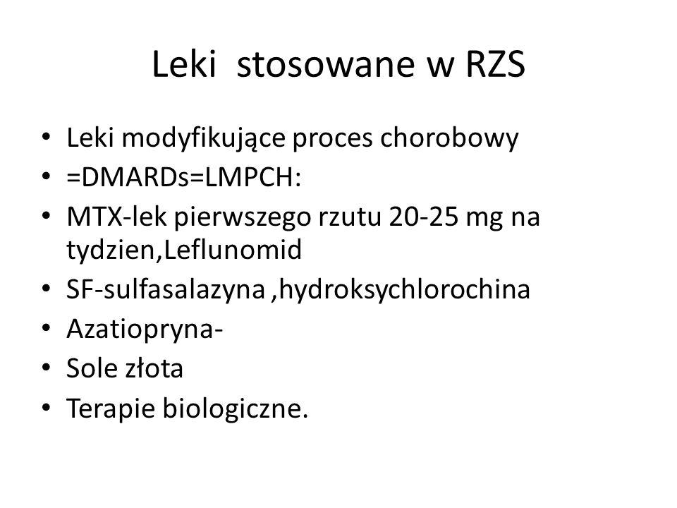 Leki stosowane w RZS Leki modyfikujące proces chorobowy =DMARDs=LMPCH: