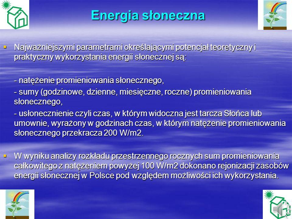 Energia słonecznaNajważniejszymi parametrami określającymi potencjał teoretyczny i praktyczny wykorzystania energii słonecznej są: