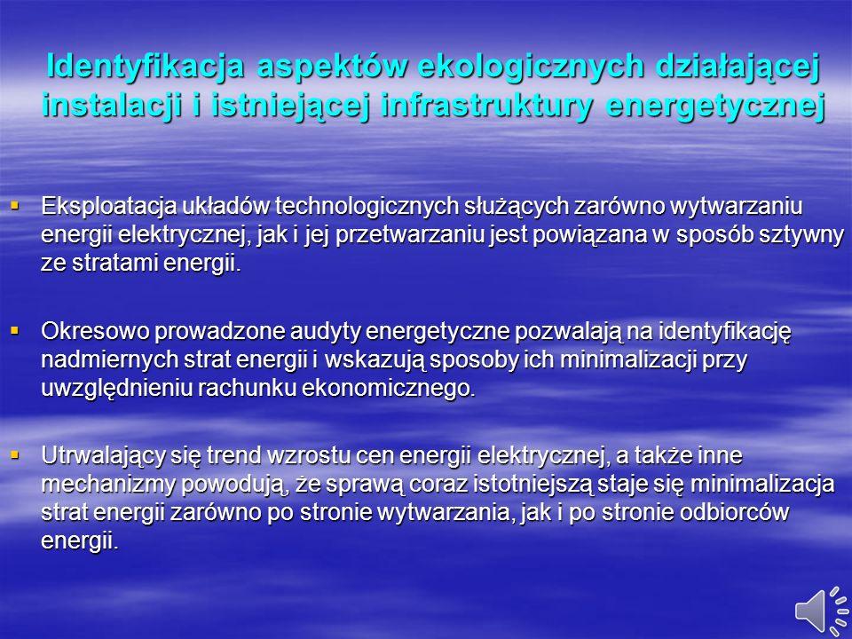 Identyfikacja aspektów ekologicznych działającej instalacji i istniejącej infrastruktury energetycznej