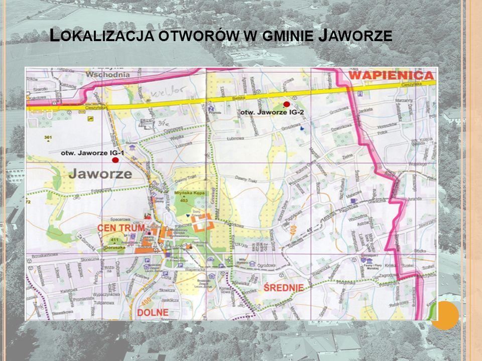 Lokalizacja otworów w gminie Jaworze