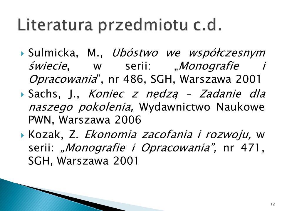 Literatura przedmiotu c.d.