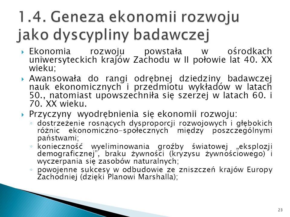 1.4. Geneza ekonomii rozwoju jako dyscypliny badawczej