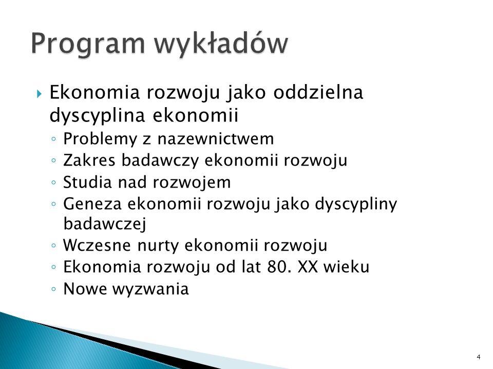 Program wykładów Ekonomia rozwoju jako oddzielna dyscyplina ekonomii