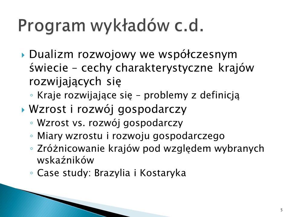 Program wykładów c.d. Dualizm rozwojowy we współczesnym świecie – cechy charakterystyczne krajów rozwijających się.