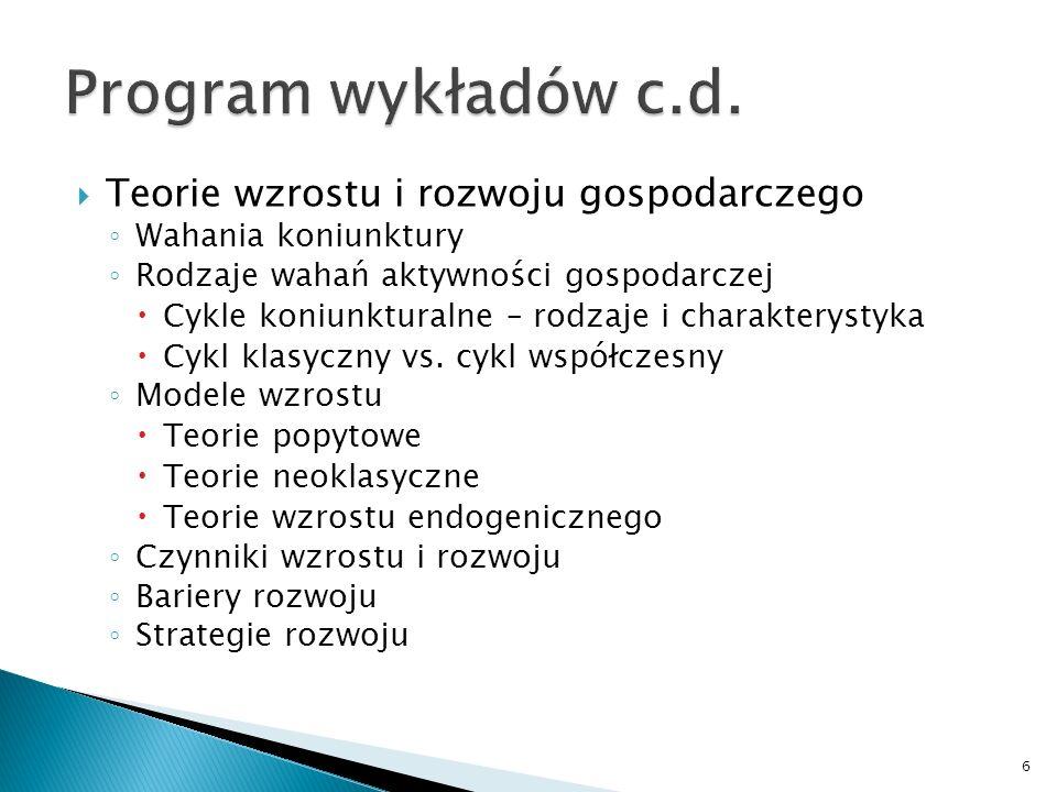 Program wykładów c.d. Teorie wzrostu i rozwoju gospodarczego