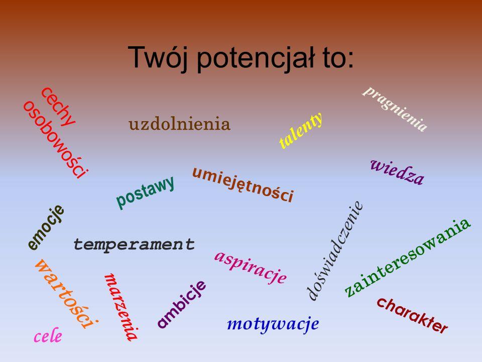 Twój potencjał to: wiedza wartości marzenia cele cechy osobowości