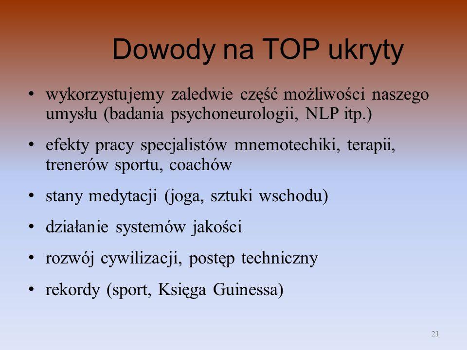 Dowody na TOP ukryty wykorzystujemy zaledwie część możliwości naszego umysłu (badania psychoneurologii, NLP itp.)