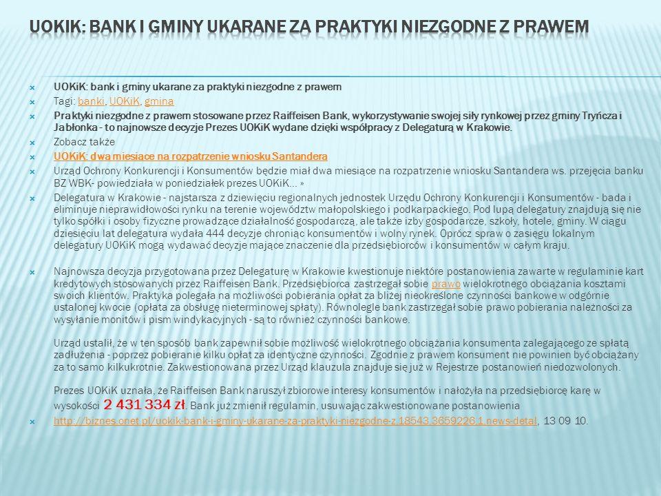 UOKiK: bank i gminy ukarane za praktyki niezgodne z prawem