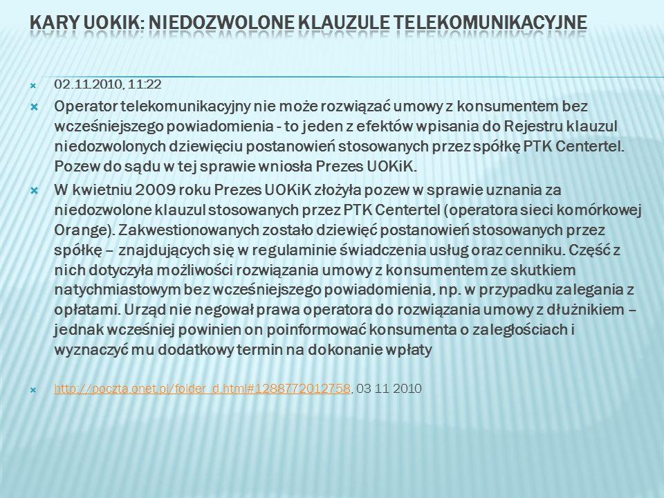 Kary UOKiK: niedozwolone klauzule telekomunikacyjne