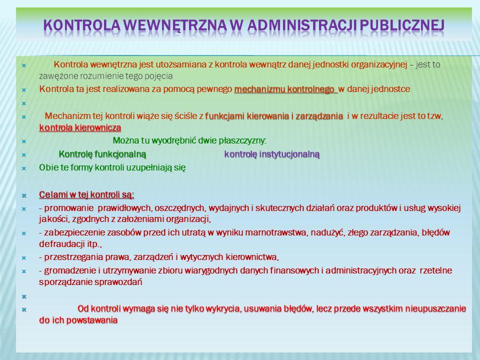 Kontrola wewnętrzna w administracji publicznej