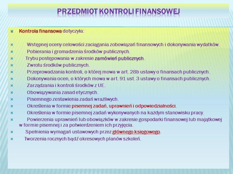 Przedmiot kontroli finansowej