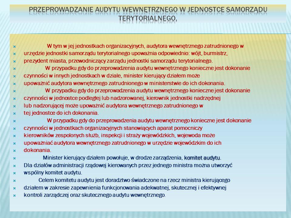 przeprowadzanie audytu wewnętrznego w jednostce samorządu terytorialnego,