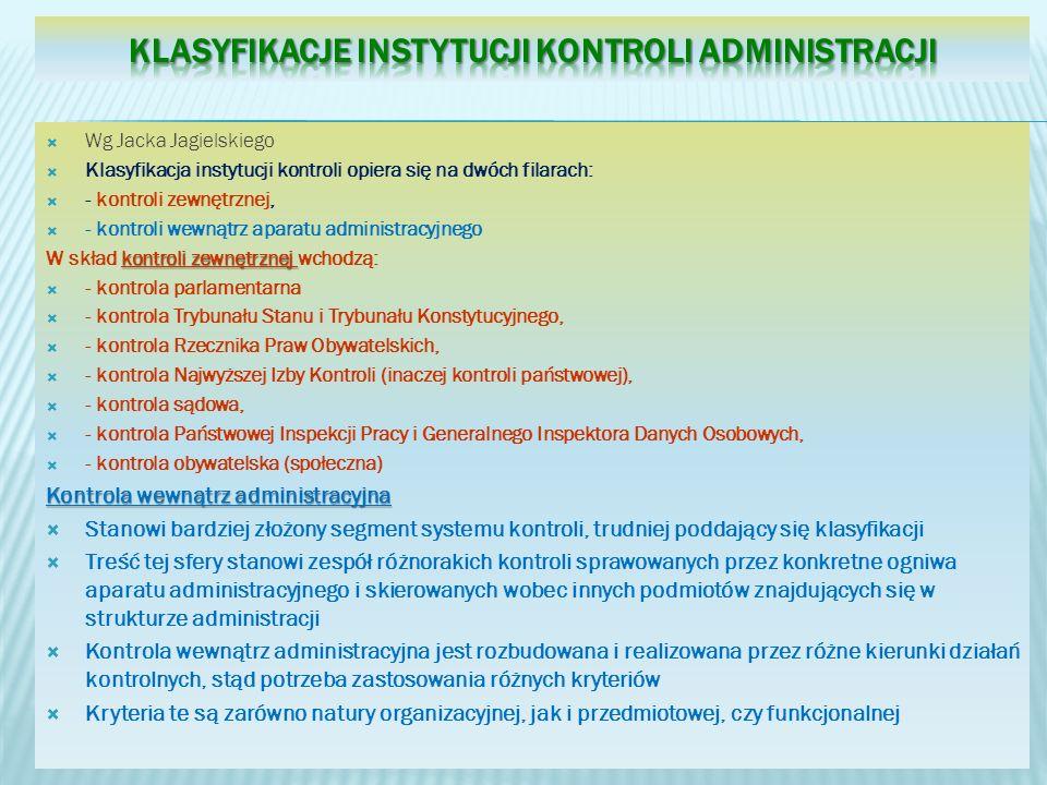 Klasyfikacje instytucji kontroli administracji