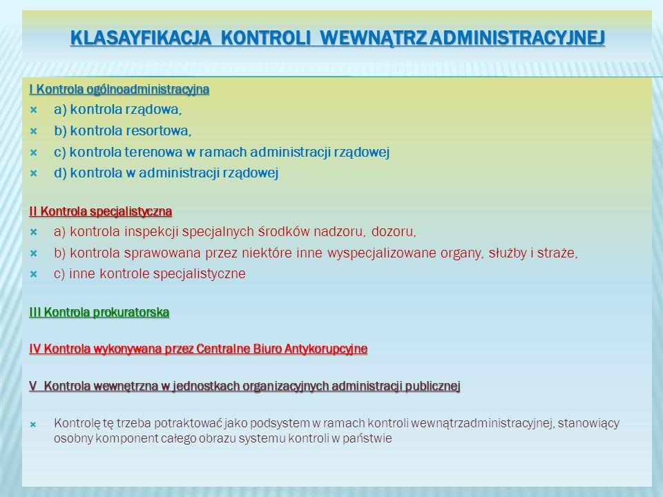 Klasayfikacja Kontroli wewnątrz administracyjnej
