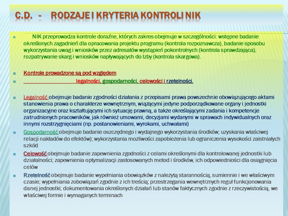 c.d. - Rodzaje i kryteria kontroli NIK