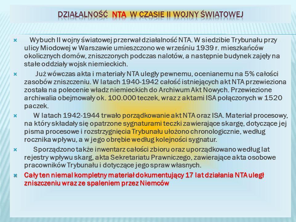 działalność NTA w czasie II wojny światowej