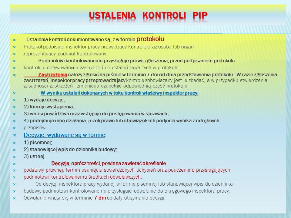 Ustalenia kontroli Pip