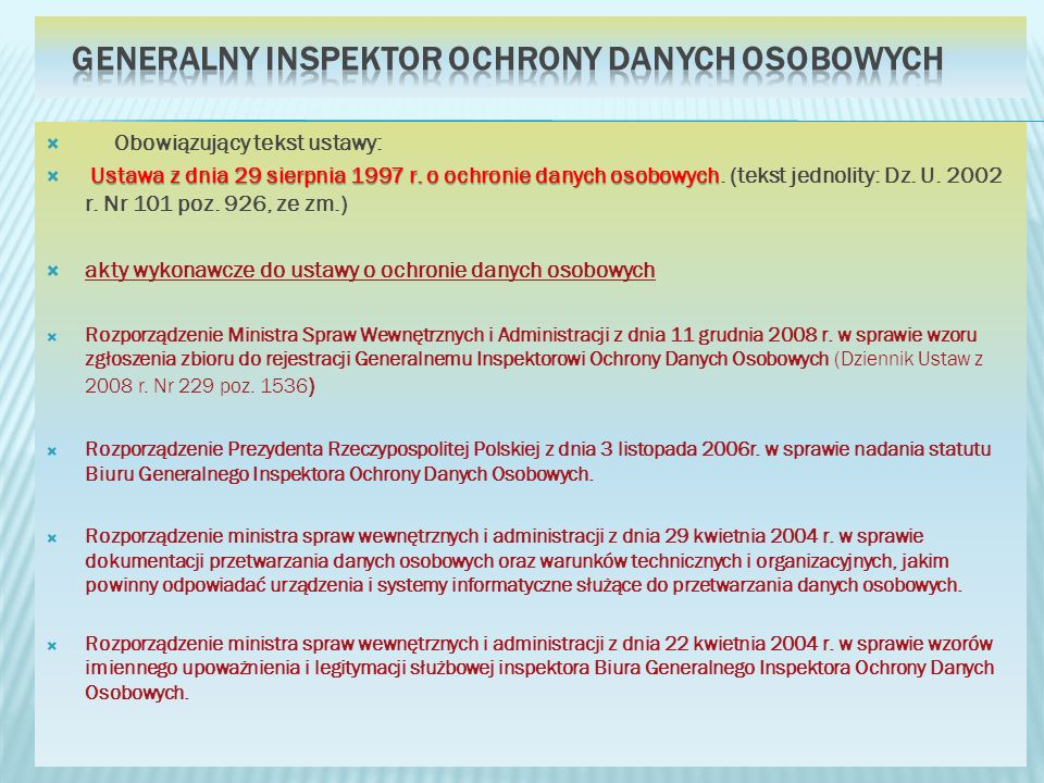 Generalny Inspektor Ochrony Danych Osobowych