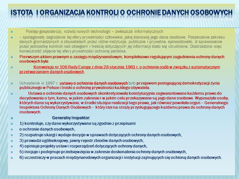 Istota i organizacja kontroli o ochronie danych osobowych