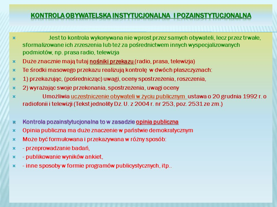 Kontrola obywatelska instytucjonalna i pozainstytucjonalna