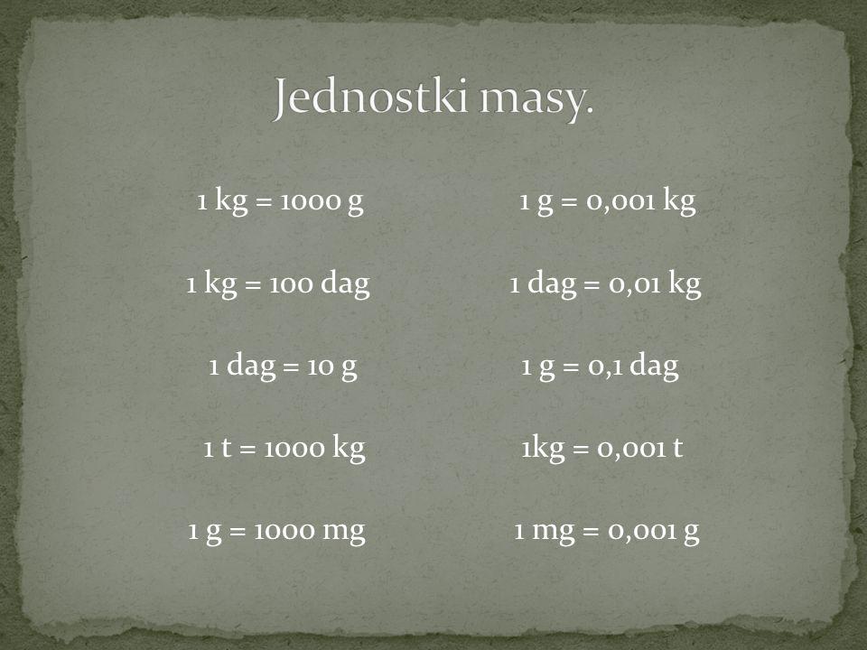 Jednostki masy. 1 kg = 1000 g 1 g = 0,001 kg