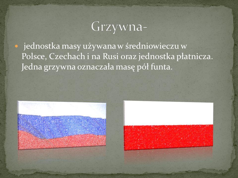 Grzywna- jednostka masy używana w średniowieczu w Polsce, Czechach i na Rusi oraz jednostka płatnicza.