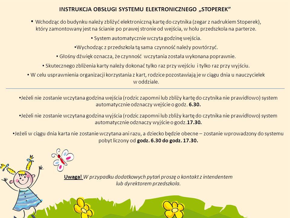 """INSTRUKCJA OBSŁUGI SYSTEMU ELEKTRONICZNEGO """"STOPEREK"""