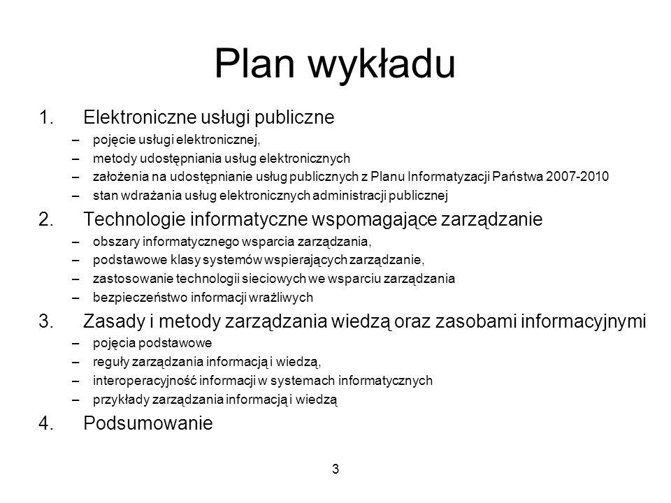 Plan wykładu Elektroniczne usługi publiczne