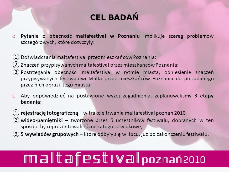CEL BADAŃ Pytanie o obecność maltafestival w Poznaniu implikuje szereg problemów szczegółowych, które dotyczyły:
