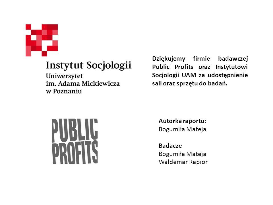Dziękujemy firmie badawczej Public Profits oraz Instytutowi Socjologii UAM za udostępnienie sali oraz sprzętu do badań.